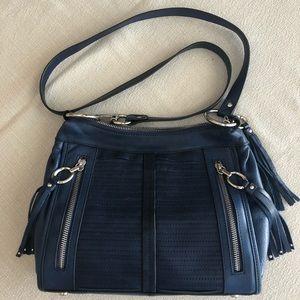 Navy leather crossbody bag